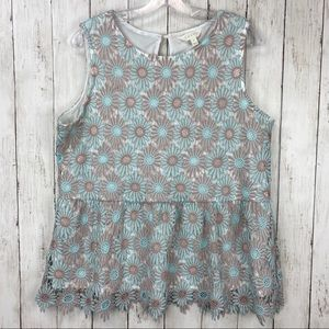 Adiva Lace Sleeveless Top Floral Babydoll L Blue